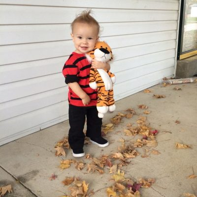 He is SO cute! OMG!! | Calvin and Hobbes Halloween Costume Idea for Toddler Boys