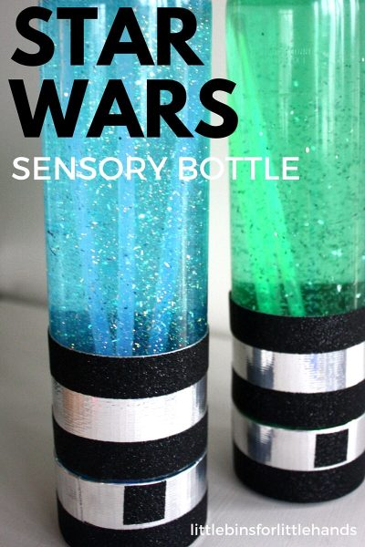 THIS works amazing for calming down toddlers during temper tantrums or just to keep them busy for a couple of hours. | DIY Star Wars Sensory Bottle Idea for Toddlers