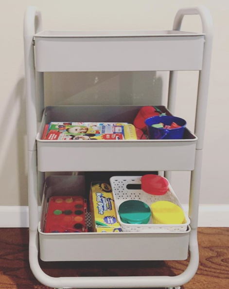 Put art and craft supplies in rolling cart for easy clean up and storage. | 9 ways to organize toddler bedroom