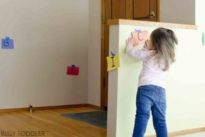 This mom is a genius! She put up letters...| 10 Indoor Activities for Toddlers